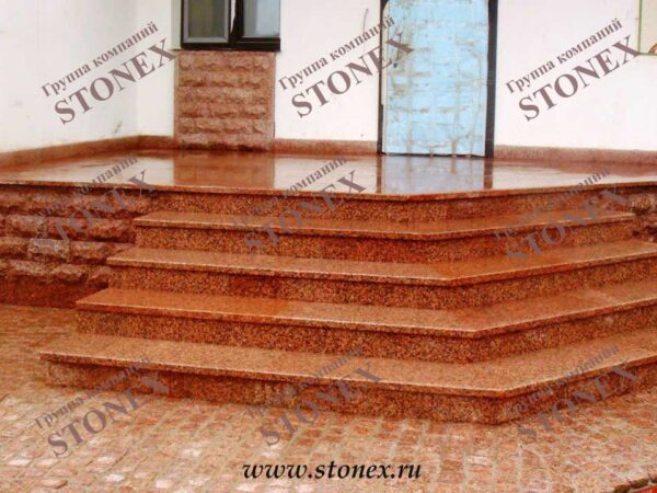 Облицовка лестниц гранитом 23